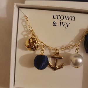 Crown & Ivy charm nautical Necklace blue and gold